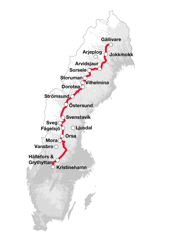 Karta Inlandsbanan med orter