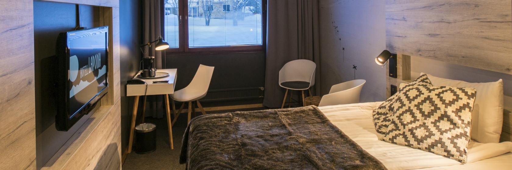 Insidan av ett rum på hotell Laponia i Arvidsjaur